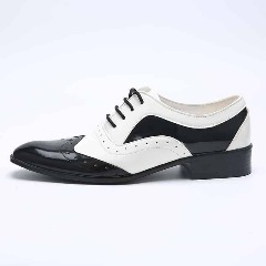 Leather Black White Brogue Dress Shoes