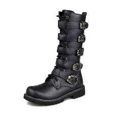 Metal Buckle Mid Calf Men Motorcycle Boots